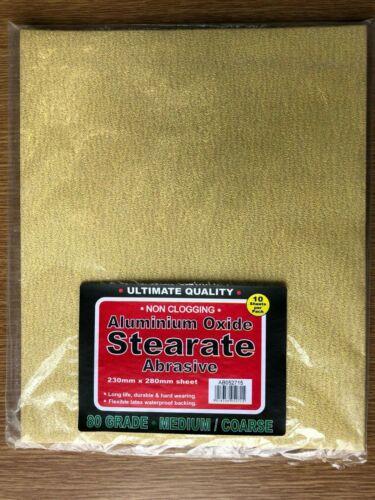 10-Pack of 80 Grit Aluminium Oxide Non-Clog Sandpaper Sheets 230mm x 280mm