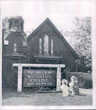 1953 Press Photo Cute Dogs Outside Little Church of West Wedding Chapel Vegas