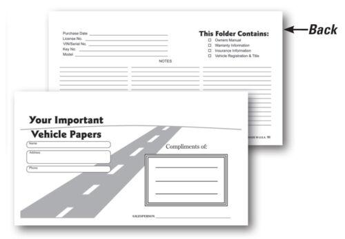 Vehicle Papers Wallet Document Holders 50 per pack Car Dealerships Black