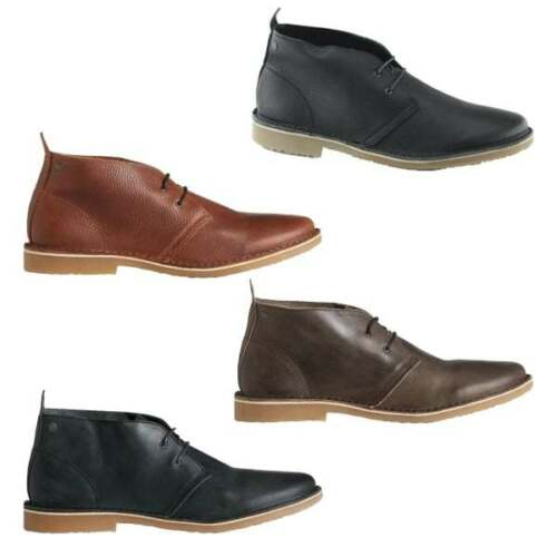 Jack /& Jones GOBI Mens Leather Handmade Grain Distressed Lace Up Desert Boots