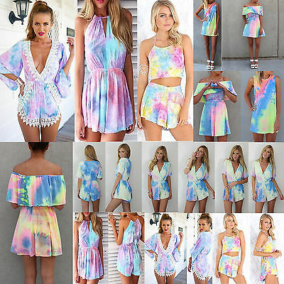 Sexy Pastel tie dye Playsuit Party Evening Romper Dress Jumpsuit Shorts Trousers