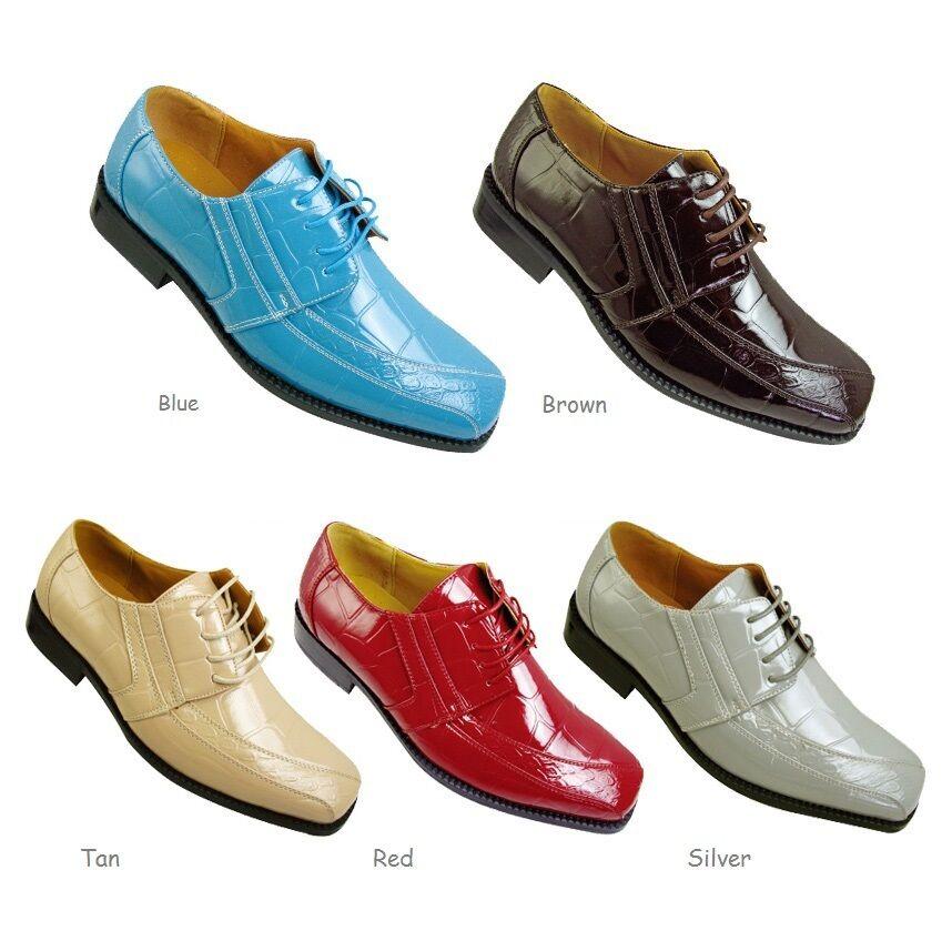Men's Oxfords Faux Shoes Leather Croco Embossed Dress Shoes Faux A5733 Size 8.5 - 16 224c2d