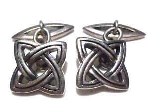 Men/'s Sterling Silver Irish Celtic Cross and Trinity Knot Design Cuff Links