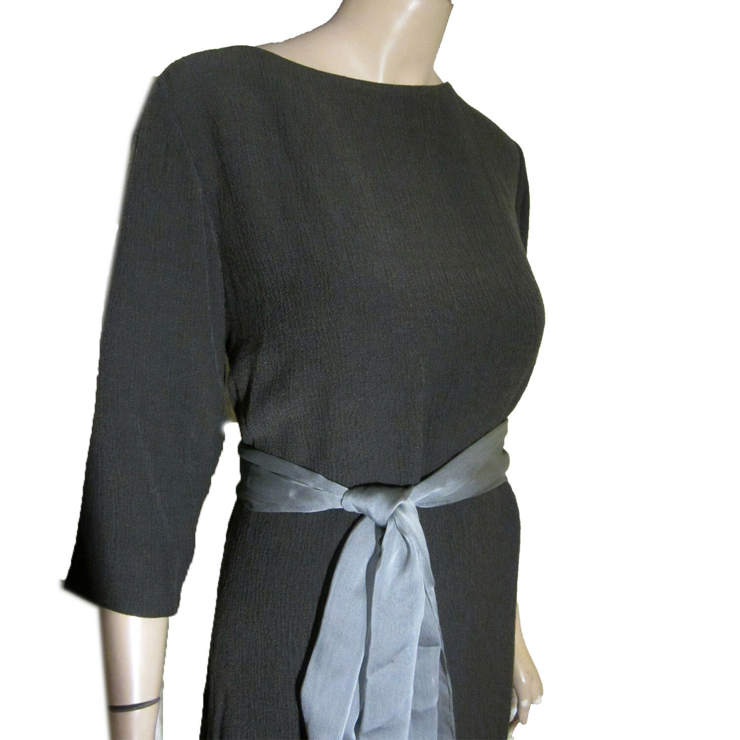 New WOOL BLEND Maxi Dress Shift 14W in Charcoal Textured Fabric by FINITY