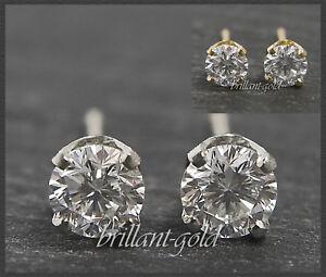 Brillant-Diamant-Damen-Ohrstecker-585-Gold-0-15-0-45ct-River-Lupenrein-echt