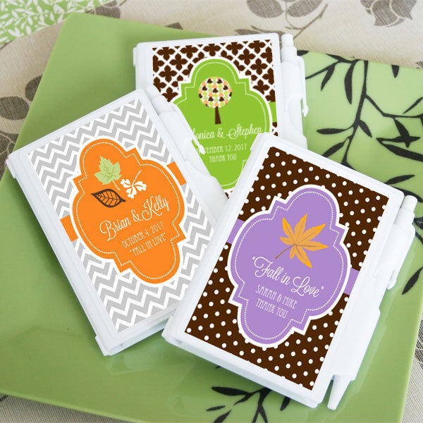 96 Personalized Fall Autumn Notebooks Wedding Bridal Shower Favors