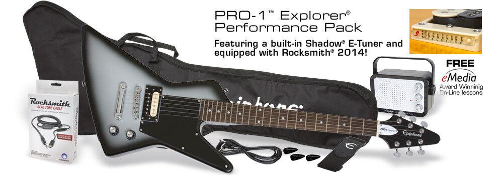 Epiphone Pro-1 Explorer Pack Silber Burst E-Gitarre + Amp + Zubehör
