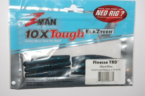 """z-man zman finesse trd 2.75/"""" naturally bouyant ned rig lure black blue"""