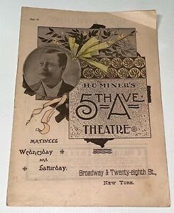 Rare-Antique-Victorian-Famous-5th-Ave-Theatre-Program-Actor-amp-Actresses-NY-1890