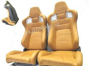 Image is loading Pair-of-tan-PU-Leather-Reclining-Sport-Seats-  sc 1 st  eBay & Pair of tan PU Leather Reclining Sport Seats / Racing Seats ... islam-shia.org