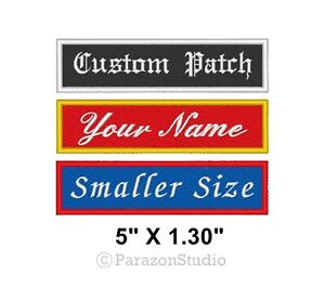 Custom-Embroidered-Name-Tag-Sew-on-Patch-Biker-Rectangular-Badge-5-034-X-1-30-034-B