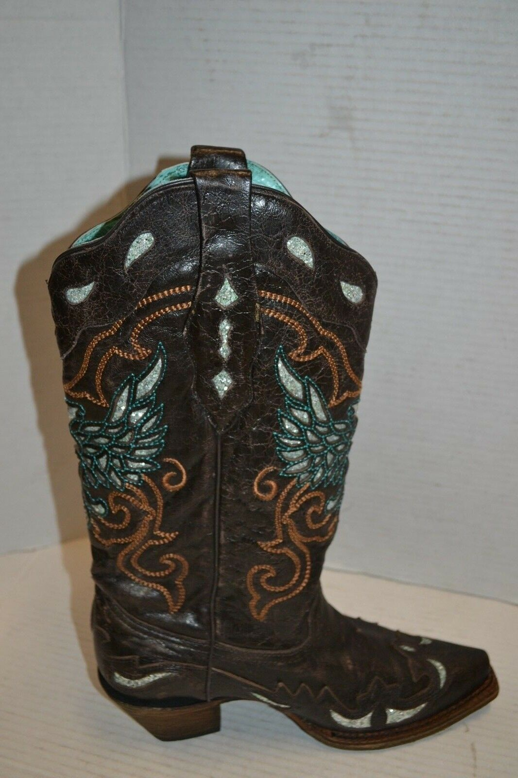 Corral WOMENS GLITTER EAGLE Inlay Inlay Inlay BROWN WESTERN 8 M Boots A3537 SNIP TOE 0bd9f9