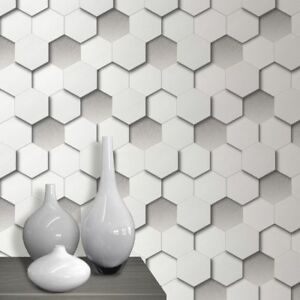 3D Hexagon Wallpaper Geometric Leather Padded Look White Grey | eBay