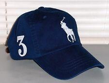 POLO RALPH LAUREN Big Pony Hat, Chino Sport Baseball Cap, Leather Strap NAVY nwt