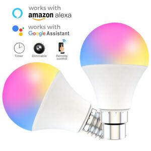 B22/E27 Smart Light Bulb 15W WiFi RGB Color Change Apps Control for Alexa/Google