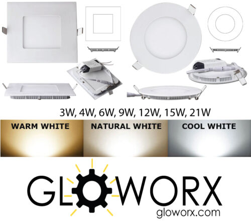 3W 6W 9W 12W 15W 18W 21W LED Recessed Ceiling Panel Down Light Slim Lamp Fixture