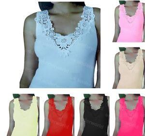 Ladies-Plain-Cotton-Wide-Strap-Vest-Top-Lace-Trim-Neck-Design-Cami-Tank-Camisole