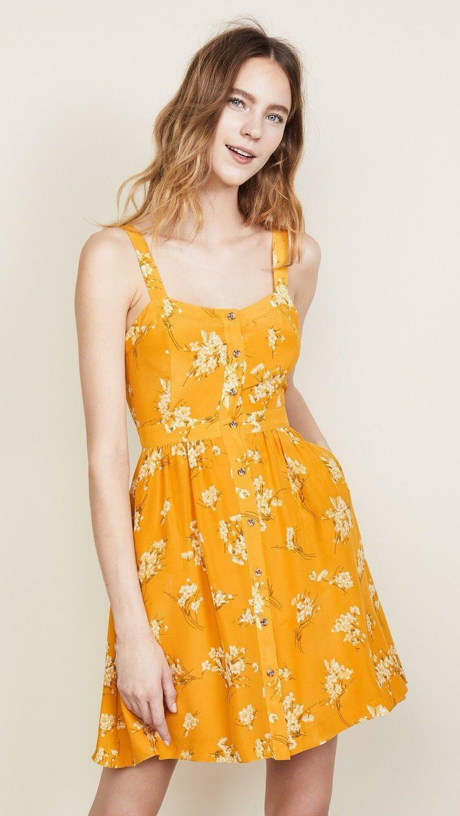 Madewell Silk Fleur Bow Back Dress in Butterfly Garden Größe 10 Style H7269
