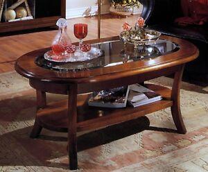 Tavolino Salotto In Noce.1 Tavolino Da Salotto In Legno Ovale Vetro Bisellato Colore Noce