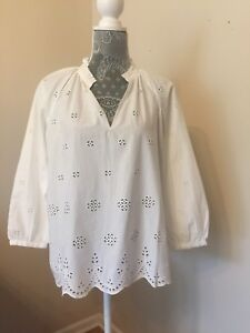 c128c5a41bf9 New Madewell Top White Eyelet Popover Blouse Size XS Scalloped G1542 ...