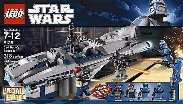 Lego Star Wars Cad Bane's Speeder Colección _ 8128 con 5 figuras _ 318 piezas _ sin usar y en caja sellada