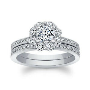 1.26 Ct Round Moissanite Band Set 14K Solid White Gold Anniversary Ring Size 6.5