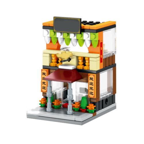 Mini Street View HK Restaurant Building Blocks Bricks Set Model Figures Toys