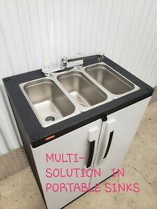 Portable-NSF-sink-mobile-Self-contained-Hot-Water-concession-three-4-COMPARTMENT
