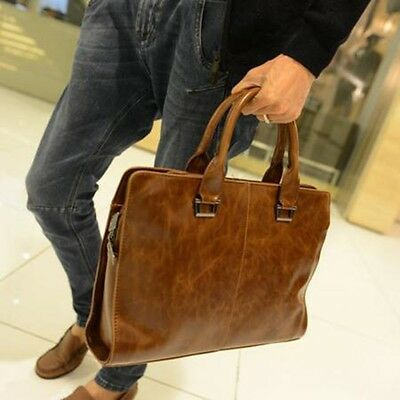 New Men's Leather Shoulder Messenger Bag Briefcase Handbag  Laptop Bags Vintage