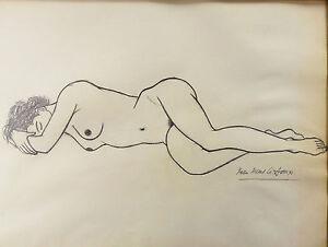 Jean-PICART-LE-DOUX-02-82-Carboncillo-original-Mujer-desnuda-nacht-nude-erotica