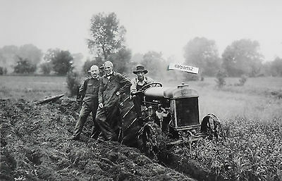 """12 By 18"""" Black & White Picture 1920's Fordson Tractor with Henry Ford"""