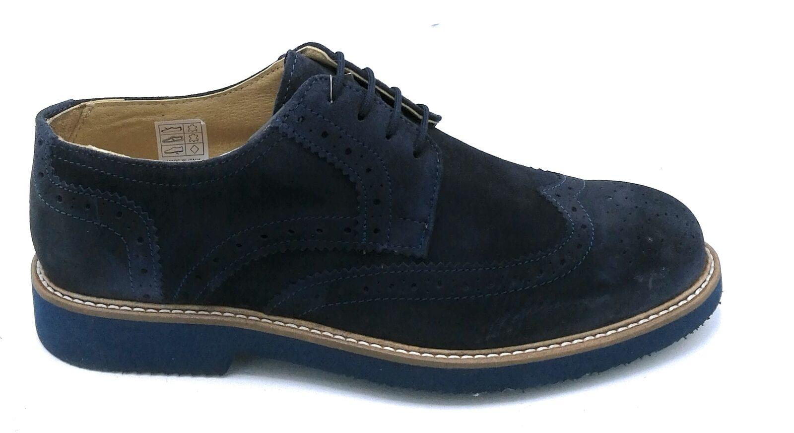 Exton 9190 Chaussure Attachée en Daim bleu Broderie