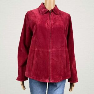 Coldwater Creek Red Suede Leather Full Zip Up Coat Jacket PS SMALL Petite Lined