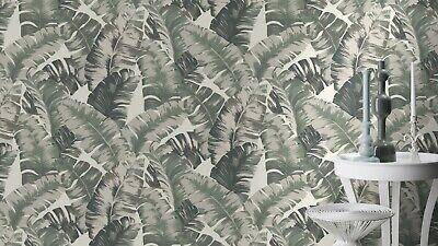 2,95€//1qm Tapete Vlies Tropisch Palmen weiß grün metallic Rasch Yucatàn 535433