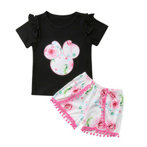 02f9e26178a2b US Toddler Baby Minnie Summer Outfits Kids Girl T-shirt Tops + Short ...