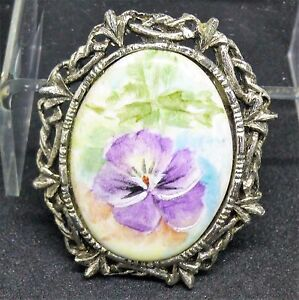 60-039-s-Vintage-Signed-Pat-Shulz-Hand-Painted-Cabochon-Silver-Oxidized-Brooch-Pin