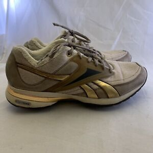 Gold Lace Up Toning Walking Shoes
