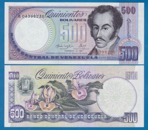 ** P 67b UNC Low Shipping Combine FREE 67 b Venezuela 500 Bolivares ** 1987 !!