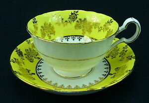 Royal-Grafton-Cup-and-Saucer-Yellow-Band-Gold-Flowers-Trim-Bone-China-England