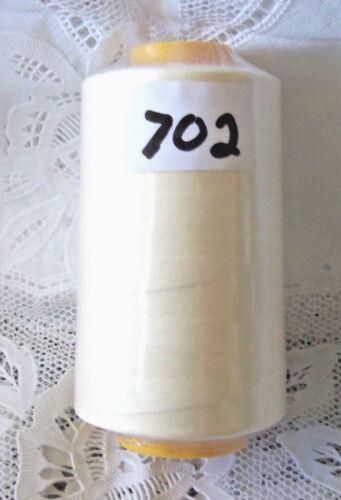 NEW 1 light Cream 6000 Yard spool 100/% spun polyester Sewing Serger thread #702
