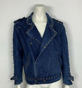 chiodo-jacket-jeans-usato-M-borchie-uomo-donna-coni-metal-vintage-giacca-T5480