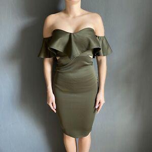 Newagerebel Partykleid Cocktailkleid Kleid Volant Cut Out Khaki Oliv Ebay
