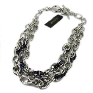 31a0449bbba9 La imagen se está cargando Collar-De-Cadena-Cristal-Azul-Oscuro-Marino -Plateado-