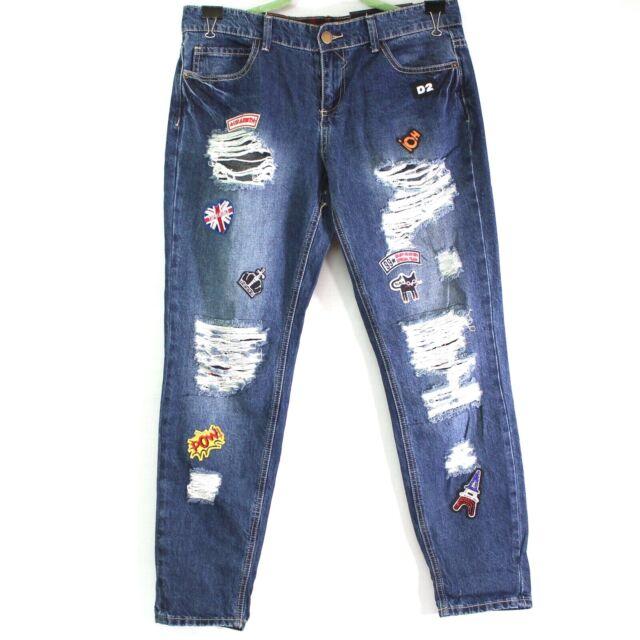 Twentyone Black Rue21 Mid Rise Skinny Flex Destroyed Patched Jeans 9/10 Regular