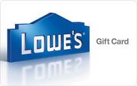 $10 / $25 / $50 / $100 Lowe's Gift Card