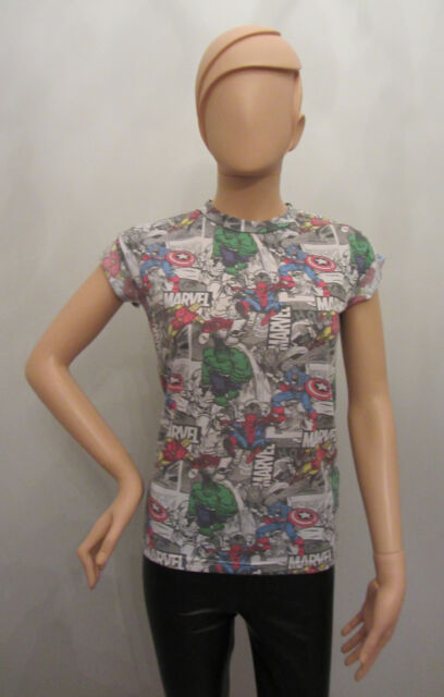Primark Ladies MARVEL AVENGERS SUPERHERO COLLAGE  T shirt *MARVEL GIFTBOX*
