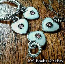 4P Silver White Enamel Pink Rhinestone Heart European Dangle Charms fit Bracelet