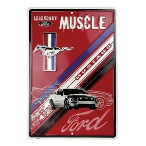 Legendary-Muscle-Metal-Ford-Mustang-Metal-Sign-Cool-Embossed-Aluminum-Sign