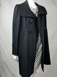 Details About Nwot Guess Womens Black Wide Collar Wool Blend Swing Pea Coat Jacket Sz Xl