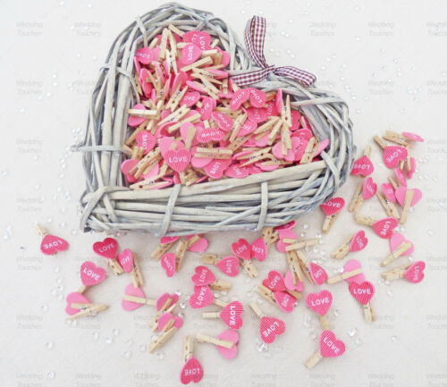 30mm Mini Clothes Pegs with 20mm Pink Love Hearts Craft For ShabbyChic Wedding